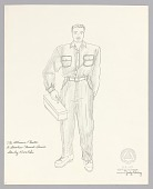 view Costume drawing by Judy Dearing for Stanley Kowalski in A Streetcar Named Desire digital asset number 1