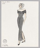 view Costume design drawing by Judy Dearing for Billie Holiday in The Song of Sheba digital asset number 1