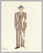 view Costume drawing by Judy Dearing for Satchmo: America's Musical Legend digital asset number 1
