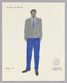 view Costume design drawing by Judy Dearing for Joseph Asagai in A Raisin in the Sun digital asset number 1