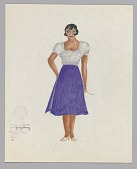 view Costume design drawing by Judy Dearing for Bess in Porgy and Bess digital asset number 1