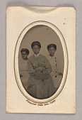 view Tintype in a paper case of three unidentified young women seated digital asset number 1