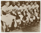 view Photograph of Jackie Robinson and Roy Campanella with Brooklyn Dodger teammates digital asset number 1