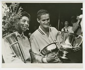 view Photograph of Althea Gibson with the US Nationals trophy and Mal Anderson digital asset number 1