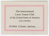 view Membership card for the Lawn Tennis Club of the United States for Althea Gibson digital asset number 1