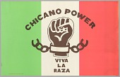 """view Poster with """"Chicano Power"""" and """"Viva La Raza"""" over a Mexican flag digital asset number 1"""