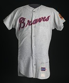 view Jersey for the Atlanta Braves worn and autographed by Hank Aaron digital asset number 1