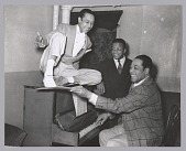view Photographic print of Duke Ellington, Alfredo Gustar, and Billy Strayhorn digital asset number 1