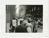 view Photographic print of steelworkers protesting in downtown Pittsburgh digital asset number 1