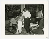 view Photograph of Jerry Sumpter and Clarence Williams in the Crystal Barber Shop digital asset number 1