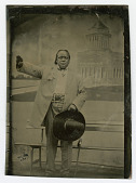 view Tintype of man saluting against a backdrop of Grant's Tomb digital asset number 1