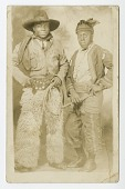 view Photographic postcard portrait of two men in cowboy and indian costumes digital asset number 1