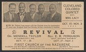 view Advertisement card for a revival featuring the Cleveland Colored Quintet digital asset number 1