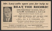 view Advertisement card for a Sunday School Rally in Detroit, Michigan digital asset number 1
