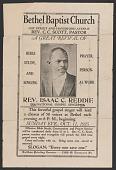 view Advertisement card for gospel singer Rev. Isaac C. Reddie digital asset number 1