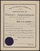 view Blank certificate of pastor's appointment for the A.M.E. Church digital asset number 1