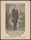 view Advertisement card for Rev. S. M. Malone digital asset number 1