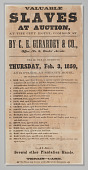 """view Broadside advertising """"Valuable Slaves at Auction"""" in New Orleans digital asset number 1"""