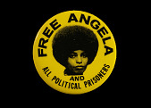 view Pinback button with [FREE ANGELA AND ALL POLITICAL PRISONERS] digital asset number 1
