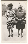 view Photographic print of two women wearing dresses and hats digital asset number 1