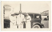 view Photographic print of Mr. and Mrs. Jackson and another woman in front of car digital asset number 1