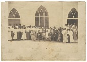 view Photographic print of men and women in front of Vernon AME Church, Tulsa digital asset number 1