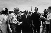 view <I>Dr. Martin Luther King, Jr., Nipsy Russell, Tony Bennett, and Harry Belafonte Speaking with the Press, Selma to Montgomery March</I> digital asset number 1