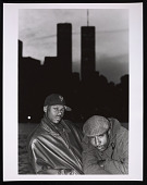 view Photograph of Mista Lawnge and Dres of Black Sheep in front of WTC towers digital asset number 1