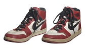 view Pair of Air Jordan I shoes game worn and autographed by Michael Jordan digital asset number 1