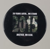 """view Pinback button stating """"20 Years Later...We Stand"""", from MMM 20th Anniversary digital asset number 1"""