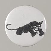 view Pinback button with a black panther on it, from the MMM 20th Anniversary digital asset number 1
