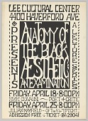 "view Broadside for the lecture ""Anatomy of the Black Aesthetic; An Examination"" digital asset number 1"