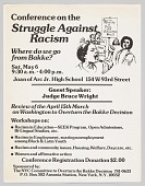 view Flier advertising a Conference on the Struggle Against Racism following Bakke digital asset number 1