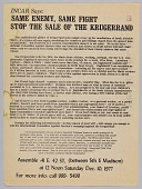 view Flyer advertising a protest against the sale of the Krugerrand digital asset number 1