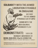 view Flyer advertising a demonstration in solidarity with Zimbabwean liberation digital asset number 1
