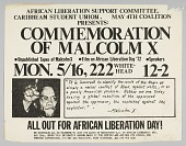 view Flyer advertising a commemoration of Malcolm X digital asset number 1