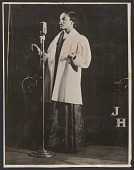 view Gelatin silver print of a woman singing into a microphone digital asset number 1