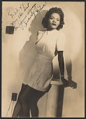 view Gelatin silver print of a woman, Wilma, leaning on a column digital asset number 1