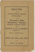 view <I>Minutes of the Twenty-Ninth Annual Convention of the Woman's Mite Missionary Society</I> digital asset number 1