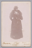 view Cabinet card of an unidentified woman wearing a top hat and a fur stole digital asset number 1