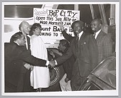 view <I>Bop City proprietor, Jimbo (wearing beret) with guests, c. mid 1950s</I> digital asset number 1