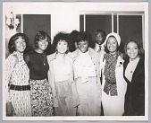 view <I>Mary Wilson, Dionne Warwick, Lena Home, DeeDee Warwick, radio DJ Detroit Benson, unknown backup singers, 1973</I> digital asset number 1