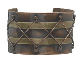 view Copper and brass diamond design cuff by Winifred Mason Chenet digital asset number 1