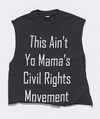 view T-shirt worn by Rahiel Tesfamariam at a protest commemorating Michael Brown digital asset number 1