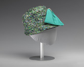 view Jewel toned fabric hat with teal bow embellishment from Mae's Millinery Shop digital asset number 1