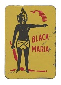 "view Tin chewing tobacco tag with ""Black Maria"" and stereotypical figure digital asset number 1"