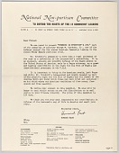 view Letter from Howard Fast and the National Non-partisan Committee digital asset number 1