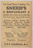 view Flier advertising Sneed's Restaurant digital asset number 1