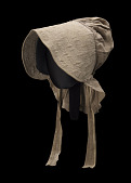 view Taupe bonnet with cross-stitched brim worn by the enslaved woman Martha Barnes digital asset number 1