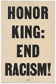 """view Placard stating """"HONOR KING: END RACISM"""" carried in 1968 Memphis March digital asset number 1"""